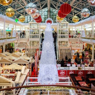 A shopping mall at Christmas