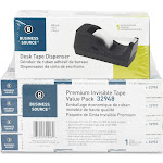 Business Source Premium Invisible - Dispenser with office tape (12 rolls) - desktop - 0.75 in x 1000 ft - 1 in core - acetate - black dispenser, clear