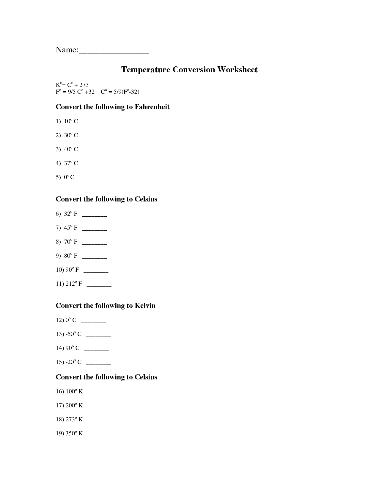 13 Best Images of Kelvin Temperature Conversion Worksheet  Kelvin Celsius Fahrenheit