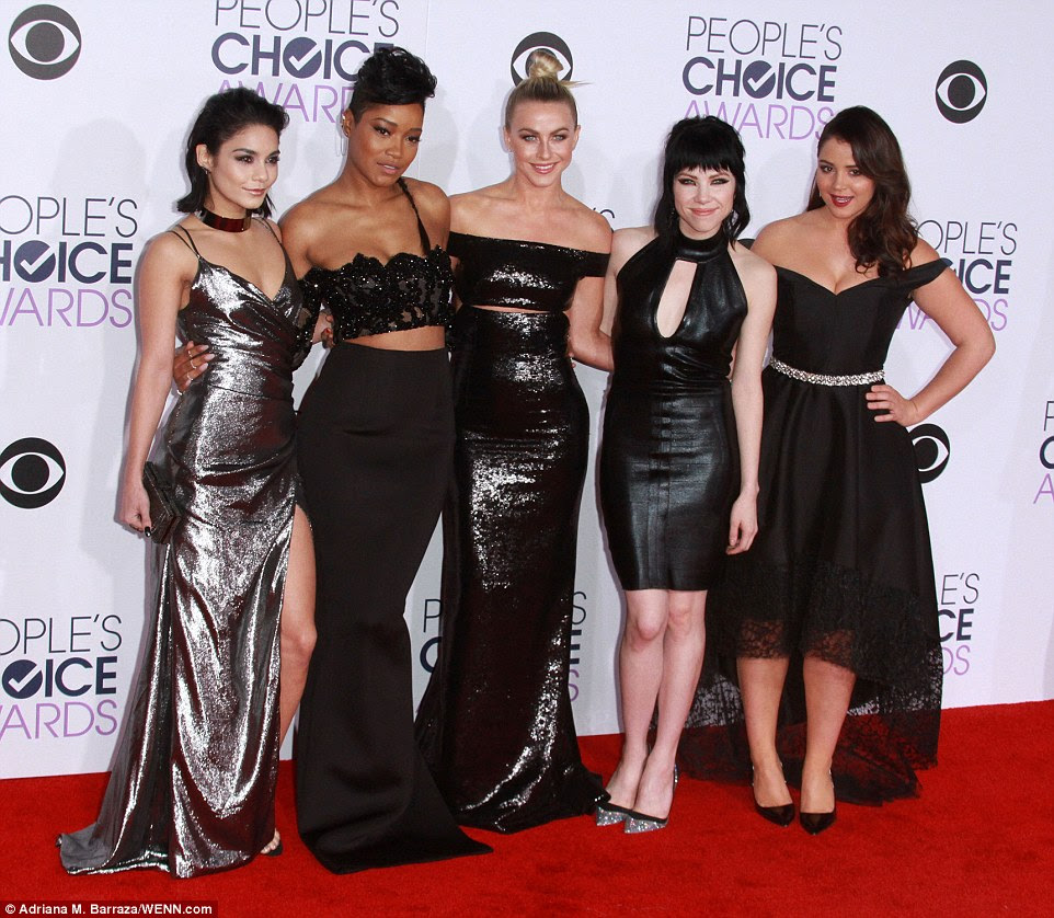 The Pink Ladies: The stars were joined by (L-R) Keke Palmer (in Yousef Al-Jasmi), Carly Rae Jepsen and Kether Donohue