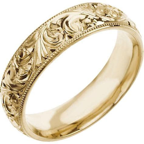WEDDING BAND 6mm Hand Engraved Ring 14K White or 14K