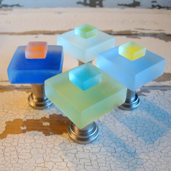 Beach Home Decor Small Glass Cabinet Knobs by beachyrustica