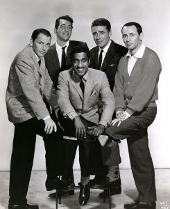 Rat Pack from left - Frank Sinatra, Dean Martin, Sammy Davis Jr., Peter Lawford, and Joey Bishop