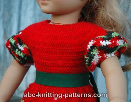 ABC Knitting Patterns - American Girl Doll Perfect Christmas Dress