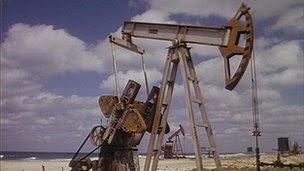Nodding donkey at an oil field in Cuba