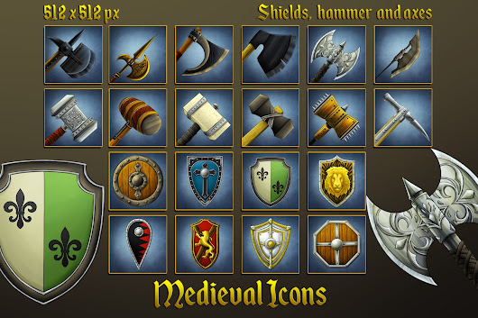 Medieval Icons: Shields, Hammers and Axes - CraftPix.net