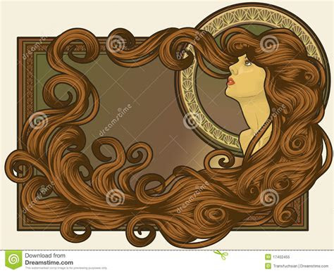 art nouveau styled womans face  long hair stock
