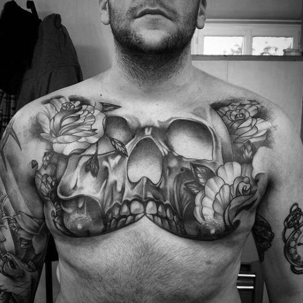 50 Skull Chest Tattoo Designs For Men Haunting Ink Ideas
