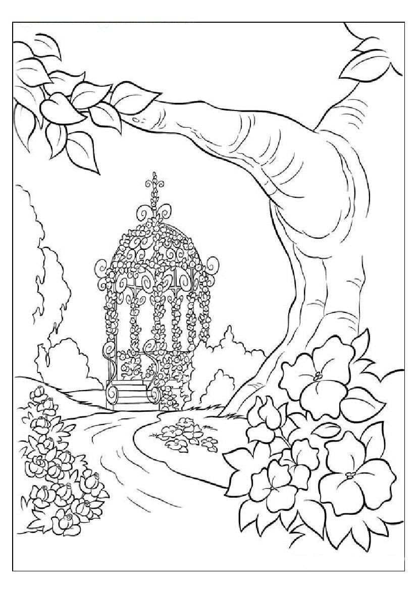 Nature Scenes Coloring Pages - Coloring Home