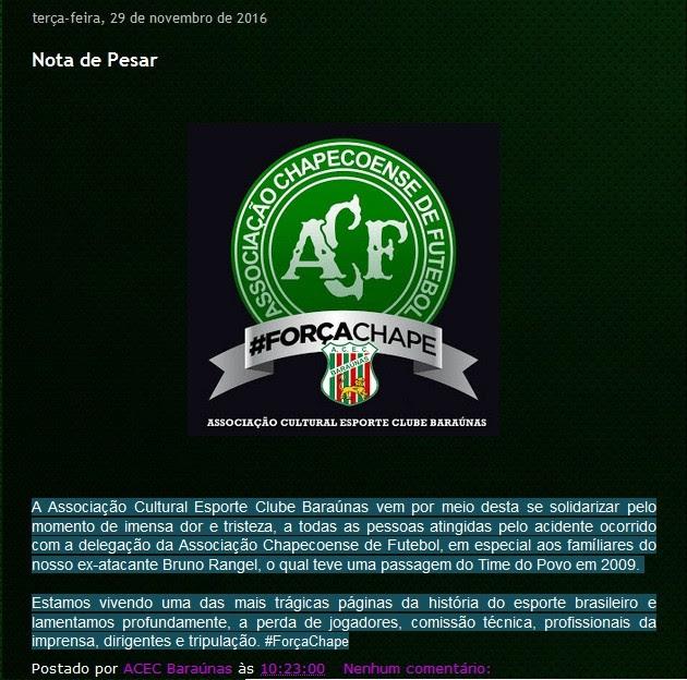 Baraunas FC - Nota de pesar (Foto: Reprodução)