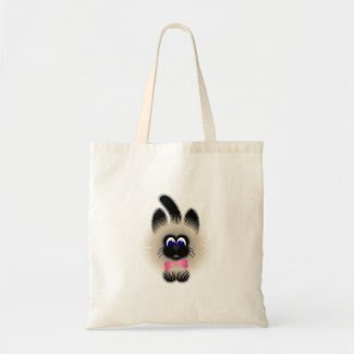 Black And Brown Cat With Pink Tie Tote Bags