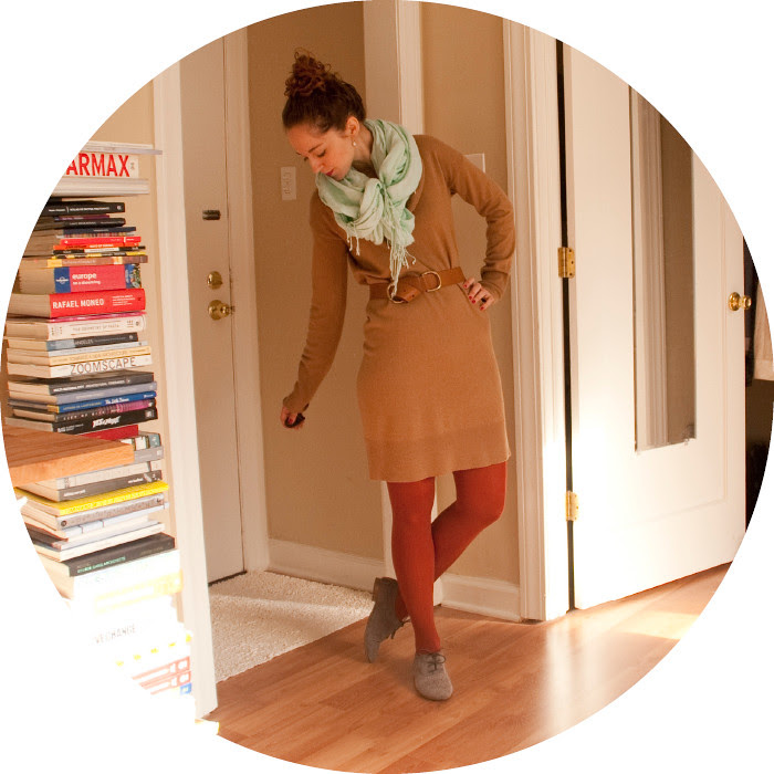 january outfit, ootd, dash dot dotty, j.crew, sweater dress, tan rust turquoise, suede oxfords, creative young professional, workfits
