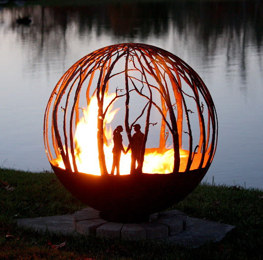 Winter Woods Fire Pit Sphere 37″