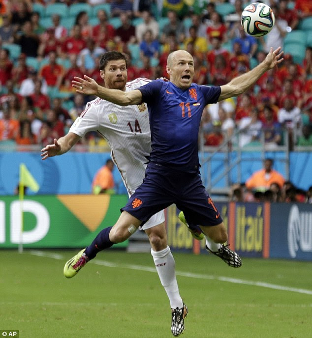 Clash of the titans: Alonso and Arjen Robben compete for a ball in the air as the Dutchman goes flying