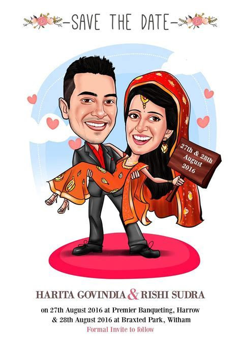 Save the date caricature card!   EloCaricatures   wedding