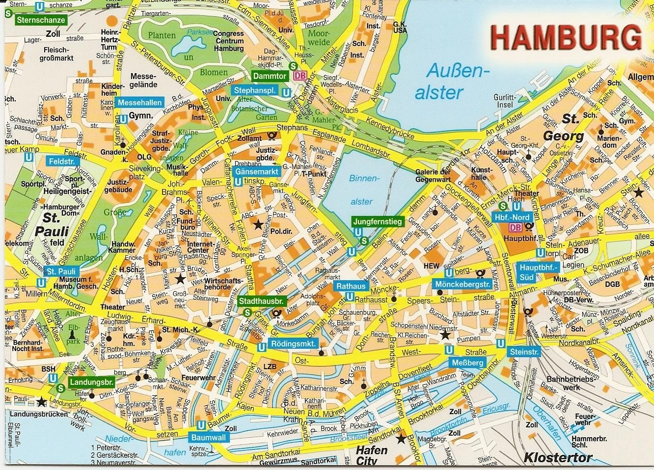 Hamburg Subway Map.Tourist Map Hamburg City Maps