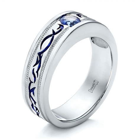 custom engraved blue sapphire mens wedding band