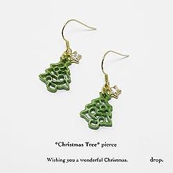 drop.ピアス クリスマスツリー ジルコニア