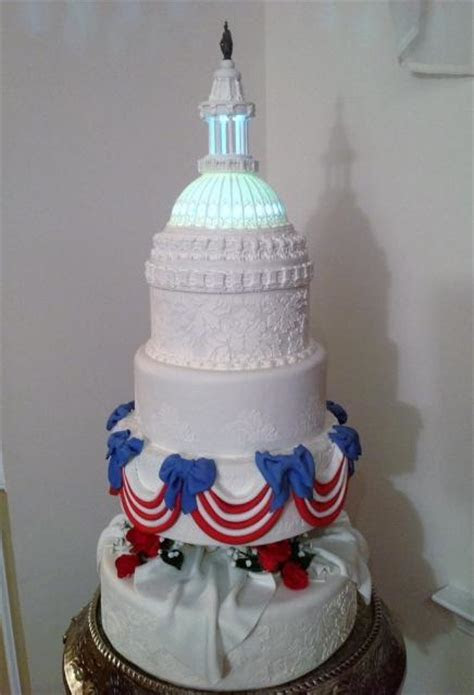 Multi Tier Patriotic Theme Capitol Cake with Domed Tower