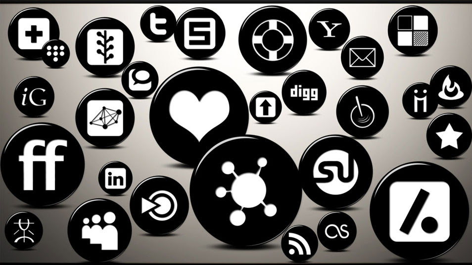 Free 3D Glossy Black Button Social Networking Icons