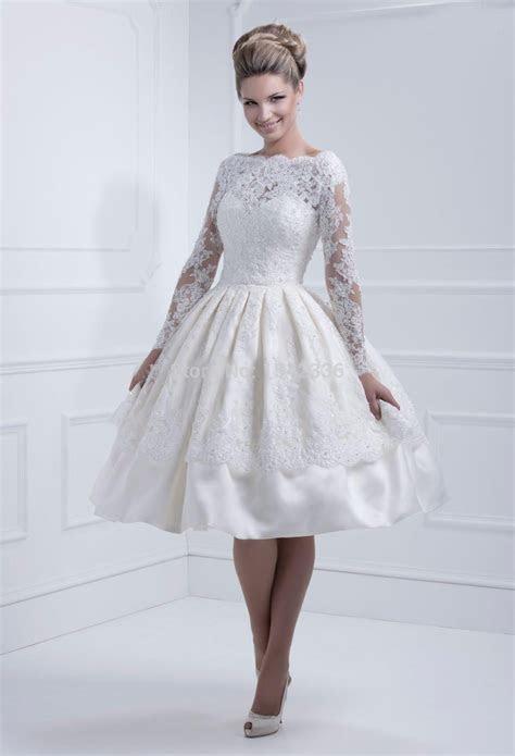 Lace Long Sleeves Wedding Dresses 2016 Bateau Neckline New