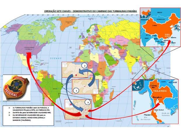 Mapa divulgado pela Polícia Federal mostra o caminho que as pedras faziam desde a extração ilegal até o destino final, no exterior (Foto: Divulgação/Polícia Federal)
