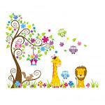 (1, 1) - Slendima Lovely Owls Tree Cartoon Animal Wall Sticker, Baby Room Nursery Colourful Decor ,Kids Bedroom Sweet Wall Decal
