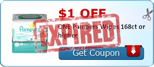 $1.00 off ONE Pampers Wipes 168ct or higher