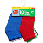 Hanes Boys Infant/Toddler Ankle 10-Pack 27/10 - Assorted - 6-7 1/2