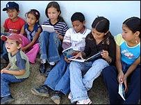 Mountain children reading