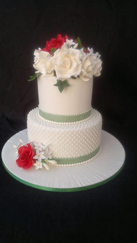 2 Tier Round Ivory Rose Dot Wedding Cake   CakeCentral.com
