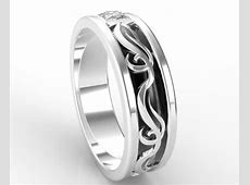 Mens Wedding Band Unique Two Tone Gold Princess Cut Diamond Wedding Ring   Vidar Jewelry