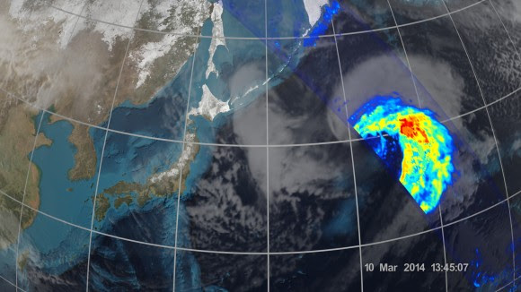 On March 10, 2014 the Global Precipitation Measurement (GPM) Core Observatory passed over an extra-tropical cyclone about 1,055 miles (1,700 km) east of Japan's Honshu Island. Formed when a cold air mass wrapped around a warm air mass near Okinawa on March 8, it moved NE drawing cold air over Japan before weakening over the North Pacific.   Credit:  NASA/JAXA