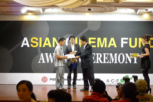 Ming Jin receiving awards from the Asian Cinema Fund
