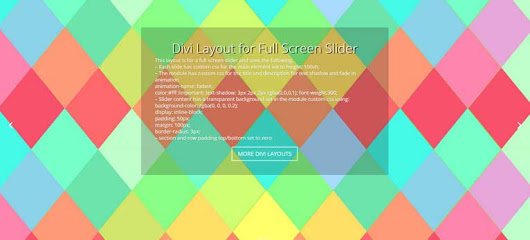 Full Screen Slider - Divi Theme Examples