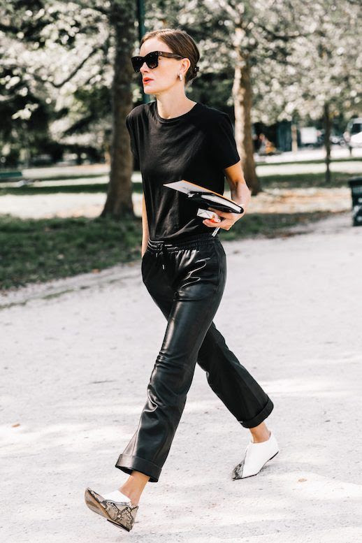 Le Fashion Blog MFW Black Sunglasses Simple T Shirt Black Leather Joggers White Snakeskin Flats Via Collage Vintage