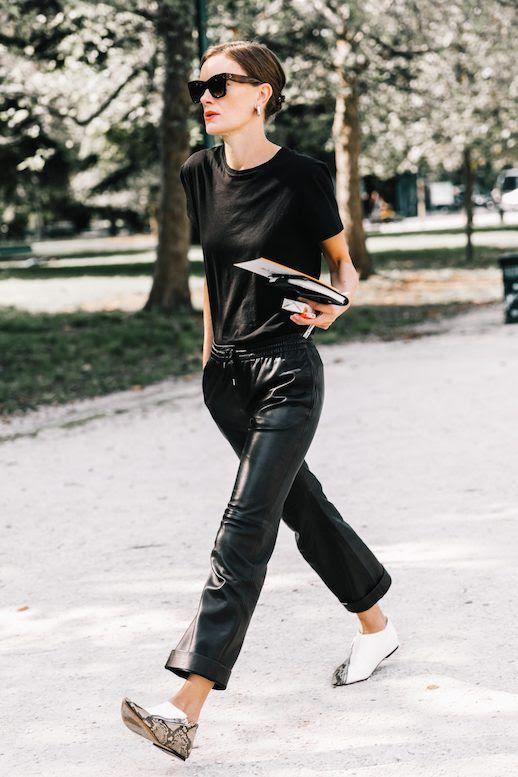 Le Fashion Blog MFW Black Sunglasses Simple T Shirt Black Leather Joggers White Snakeskin Flats Via Collage Vintage