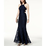 Xscape Womens Lace Formal Evening Dress Navy