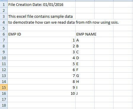 How to read data from an Excel file starting from the nth row with SQL Server Integration Services