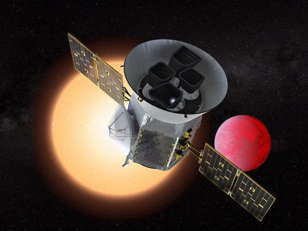 An artist's concept of NASA's TESS satellite searching for exoplanets in deep space.