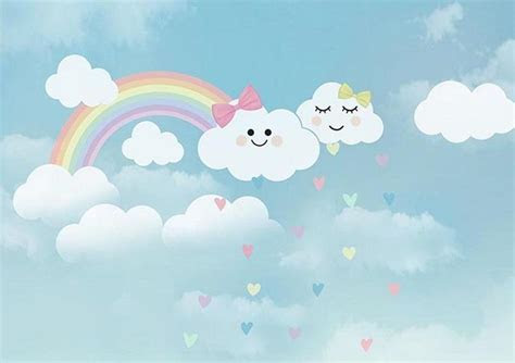 Baby girl backdrop rainbow and clouds for sale   whosedrop