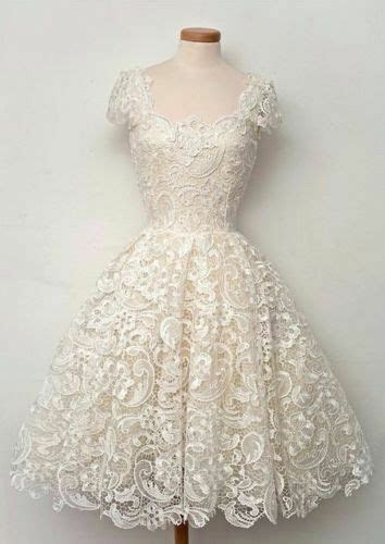 vintage  ivory lace knee length wedding dress ball