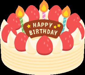 いちごと生クリームの誕生日ケーキの無料ベクターイラスト素材 Picaboo