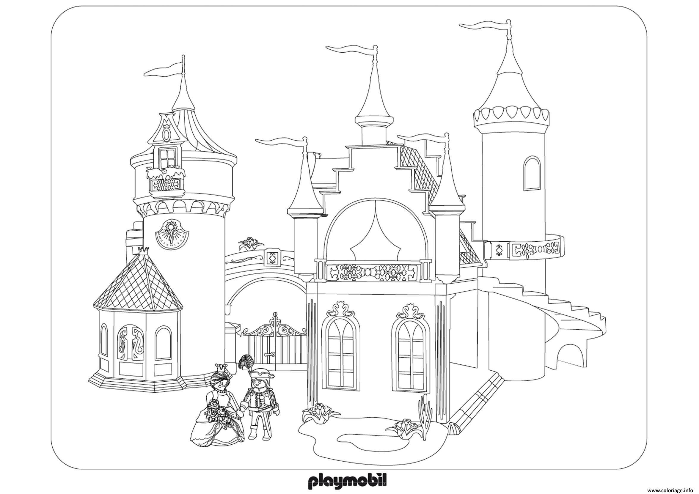 Coloriage Chateau Roi Reine Princesse Playmobil Dessin  Imprimer