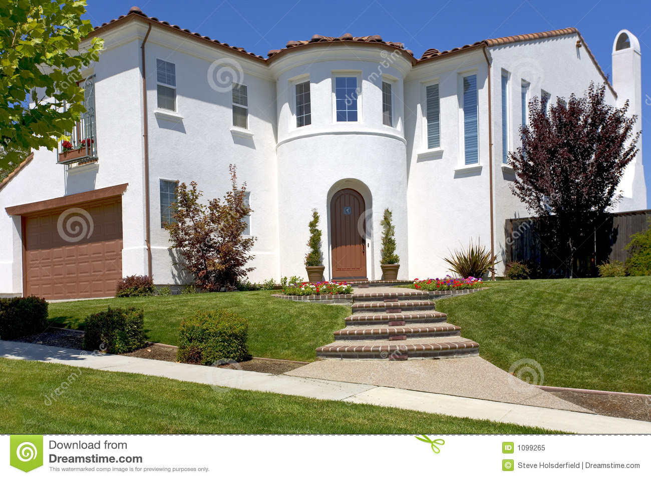 Large Spanish Style Home With A Turret Royalty Free Stock Photo ...