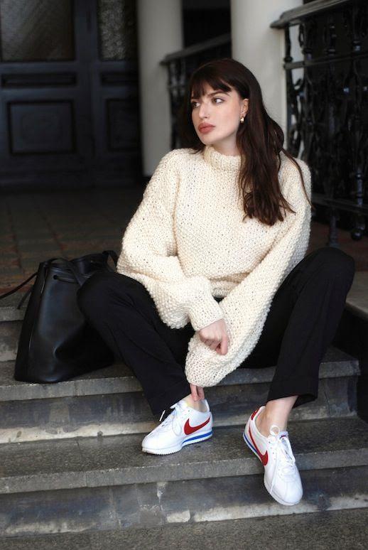 Le Fashion Blog Blogger Style Oversize Cream Wool Sweater Black Pants Nike Cortez Sneakers Via Horkruks