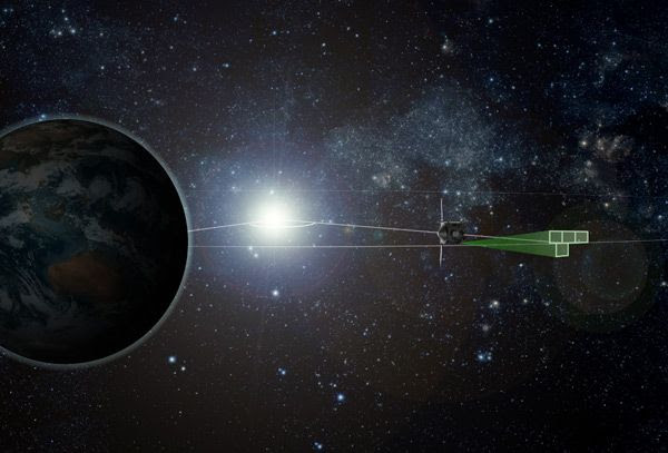 An artist's concept of NASA's OSIRIS-REx spacecraft searching for Earth-Trojan asteroids in Earth's L4 Lagrangian region.