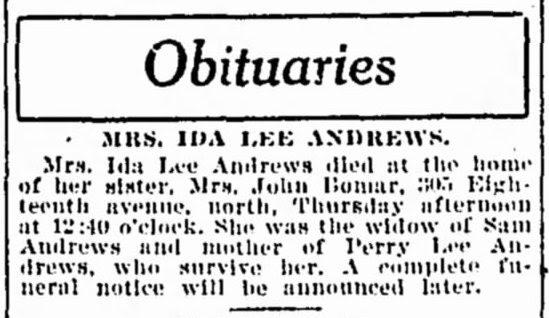 So Many Ancestors!: Sunday's Obituary: Ida Lee (Gatlin