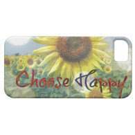 Choose Happy Quote with Sunflowers iPhone 5 Cover