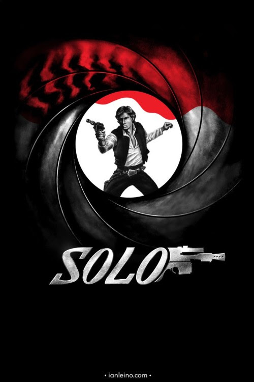 """Han Solo/007 mashup t-shirt design titled """"Licensed to Shoot First"""" from Ian Leino."""
